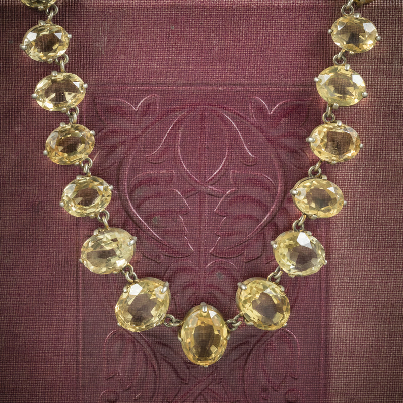 Antique Victorian Citrine Necklace Gold Gilt Circa 1900 COVER