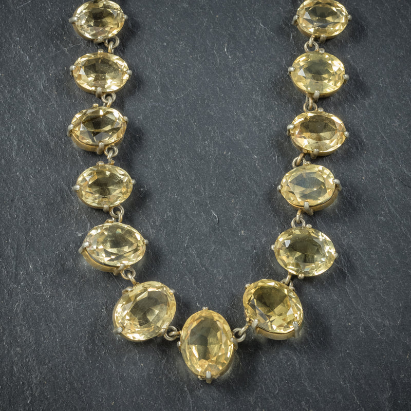 Antique Victorian Citrine Necklace Gold Gilt Circa 1900 FRONT