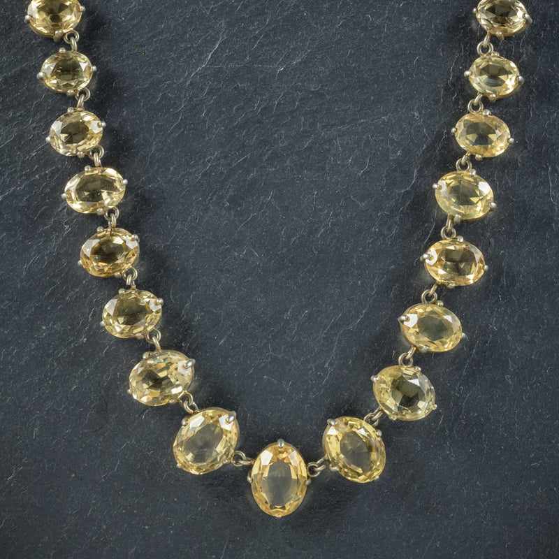 Antique Victorian Citrine Necklace Gold Gilt Circa 1900 NECK