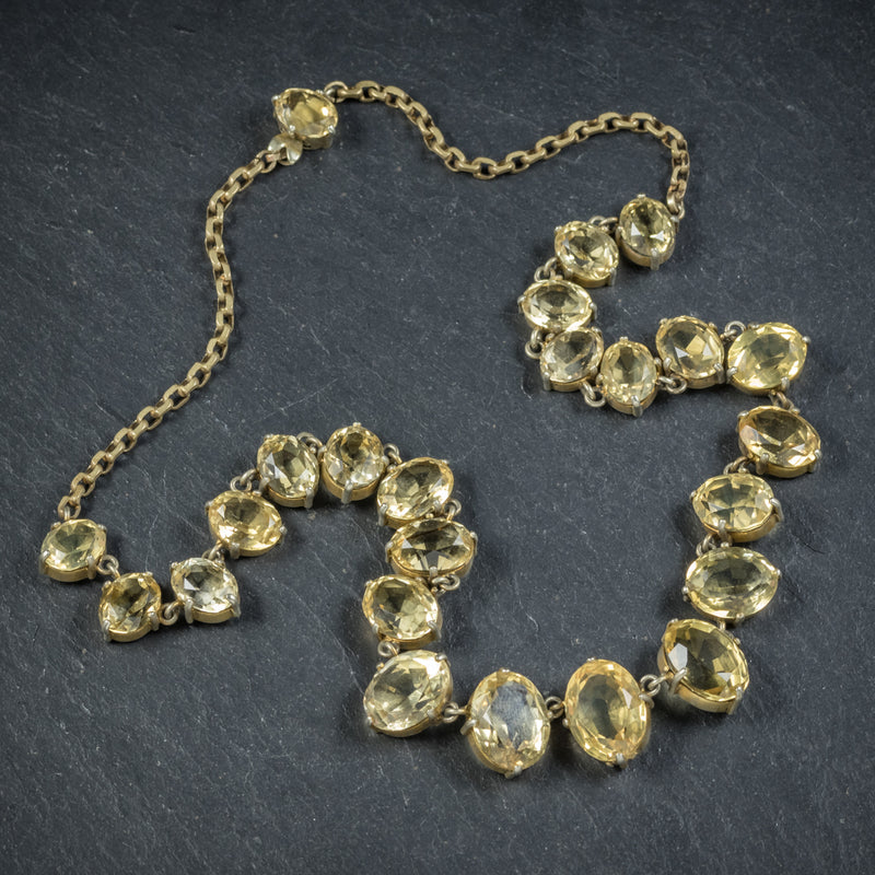 Antique Victorian Citrine Necklace Gold Gilt Circa 1900 TOP