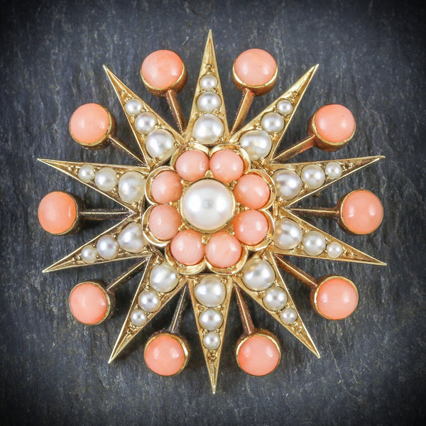 ANTIQUE VICTORIAN CORAL PEARL STAR BROOCH 18CT GOLD CIRCA 1900 FRONT