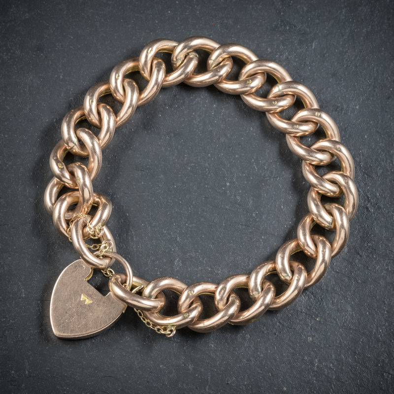 Antique Victorian Curb Bracelet 9ct Gold Heart Padlock Circa 1900 back