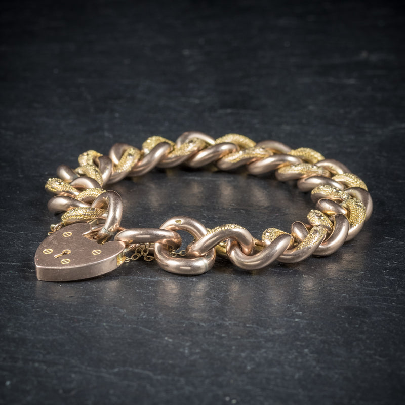 Antique Victorian Curb Bracelet 9ct Gold Heart Padlock Circa 1900 side