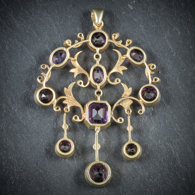 ANTIQUE VICTORIAN DIAMOND AMETHYST PENDANT 18CT GOLD CIRCA 1890