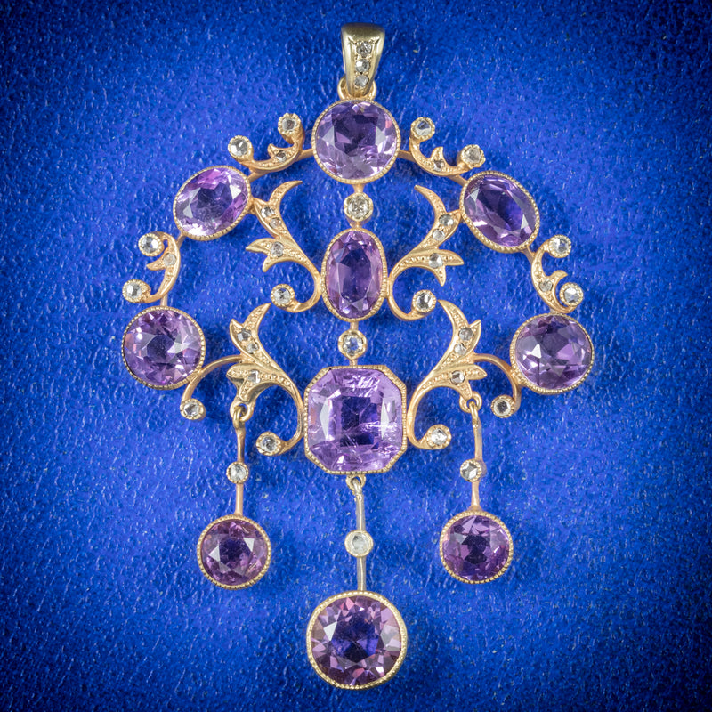 ANTIQUE VICTORIAN DIAMOND AMETHYST PENDANT 18CT GOLD CIRCA 1890 COVER