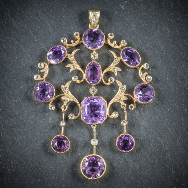 ANTIQUE VICTORIAN DIAMOND AMETHYST PENDANT 18CT GOLD CIRCA 1890 FRONT