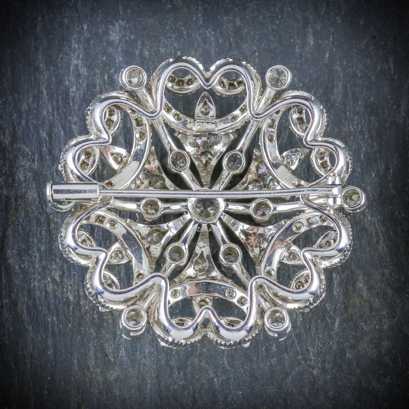 ANTIQUE VICTORIAN DIAMOND BROOCH 18CT WHITE GOLD CIRCA 1900 BACK