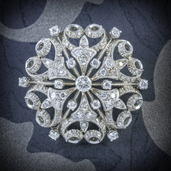 ANTIQUE VICTORIAN DIAMOND BROOCH 18CT WHITE GOLD CIRCA 1900 COVER