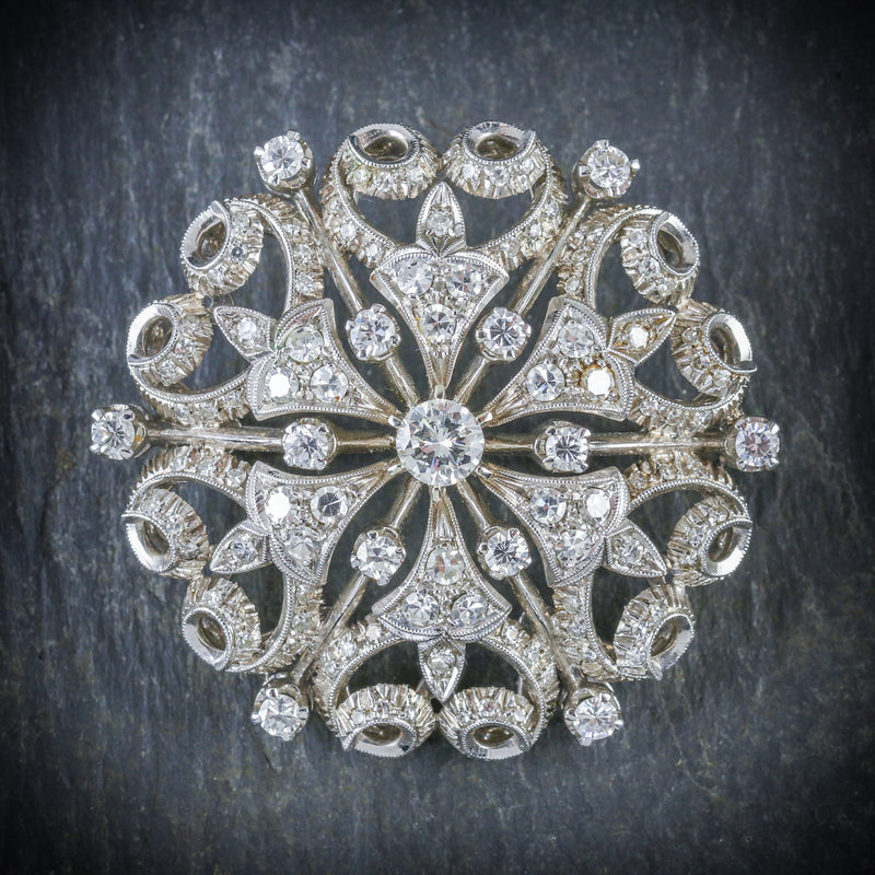 ANTIQUE VICTORIAN DIAMOND BROOCH 18CT WHITE GOLD CIRCA 1900 FRONT