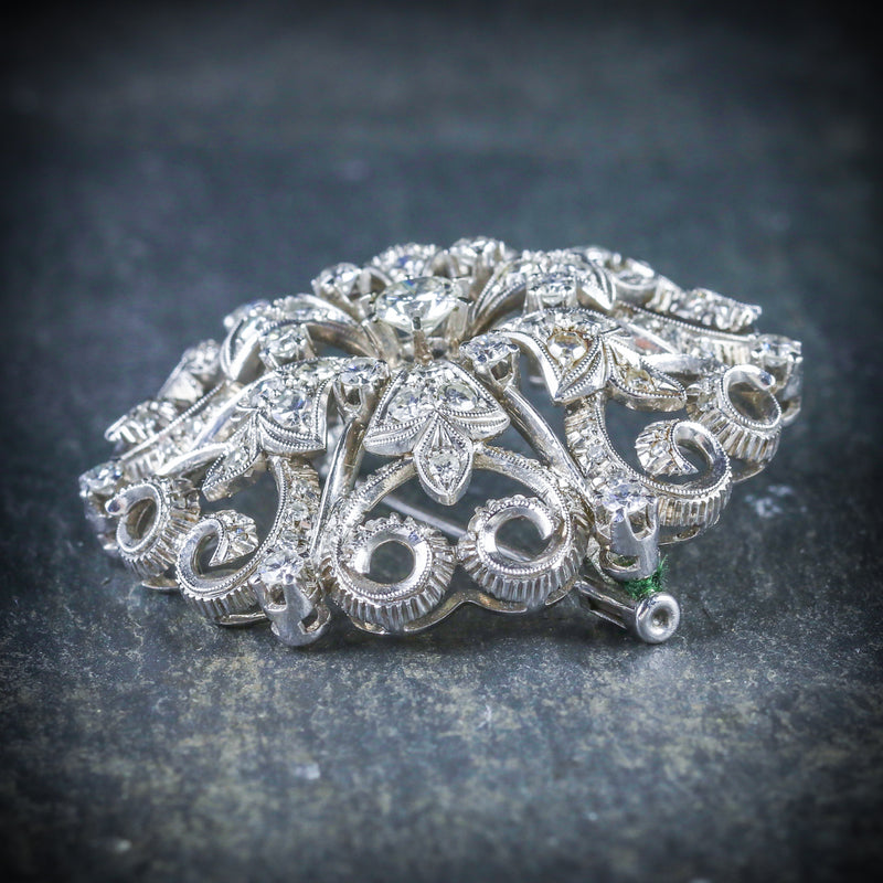 ANTIQUE VICTORIAN DIAMOND BROOCH 18CT WHITE GOLD CIRCA 1900 SIDE