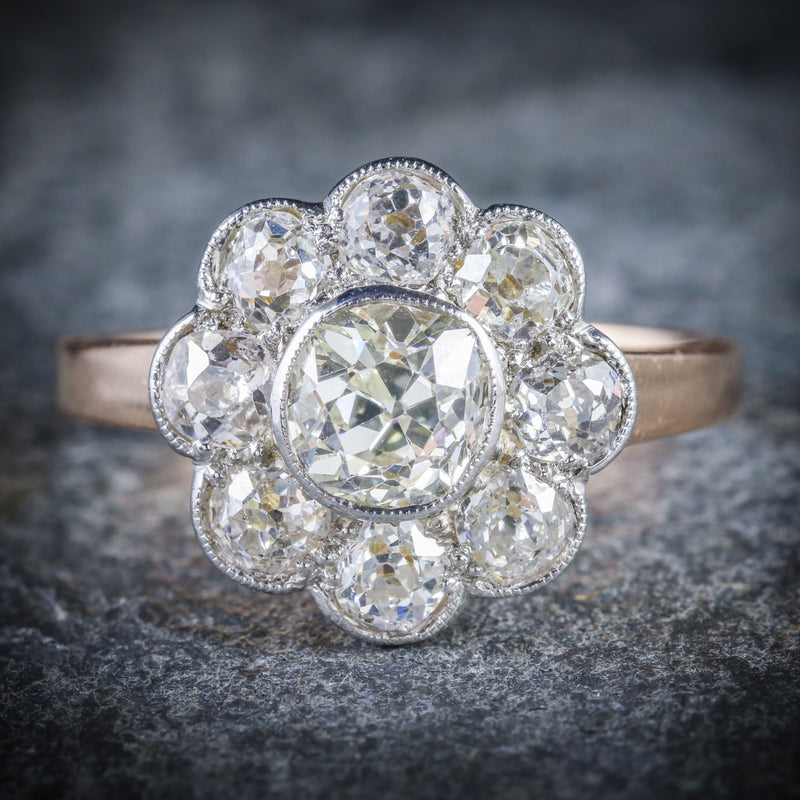 ANTIQUE VICTORIAN DIAMOND CLUSTER RING 2.80CT OLD CUSHION CUT DIAMOND ROSE GOLD FRONT