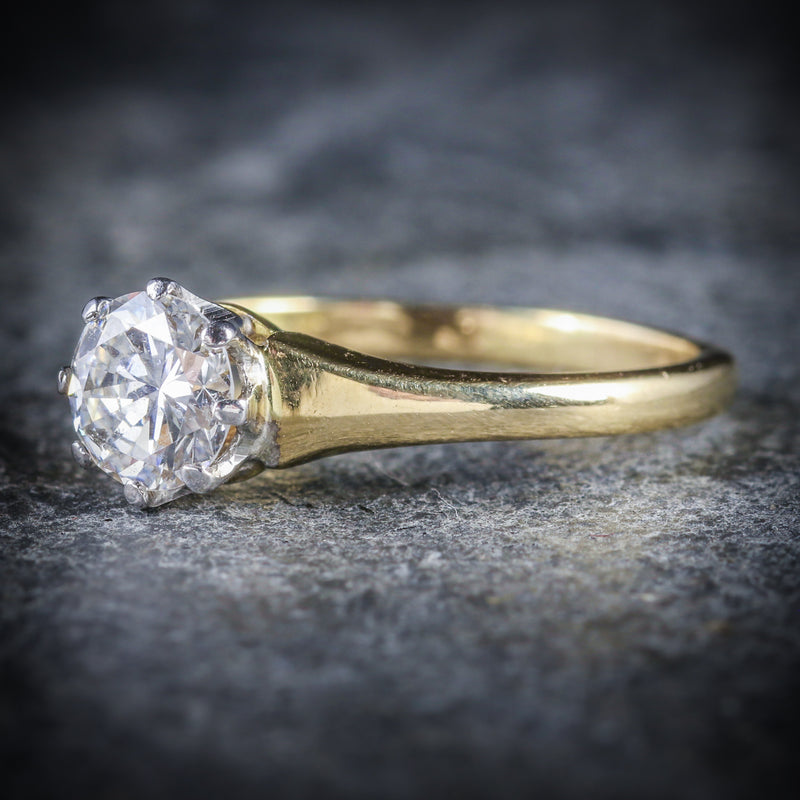 ANTIQUE VICTORIAN DIAMOND ENGAGEMENT RING CIRCA 1900 18CT GOLD 0.70CT SIDE