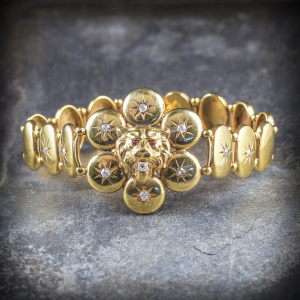 ANTIQUE VICTORIAN DIAMOND LION BRACELET 18CT GOLD CIRCA 1860 FRONT