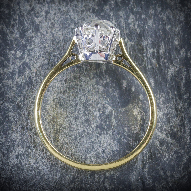 ANTIQUE VICTORIAN DIAMOND RING 1.35CT DIAMOND VVS1 H COLOUR TOP