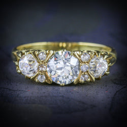 ANTIQUE VICTORIAN DIAMOND RING 18CT GOLD 2.20CT DIAMONDS COVER