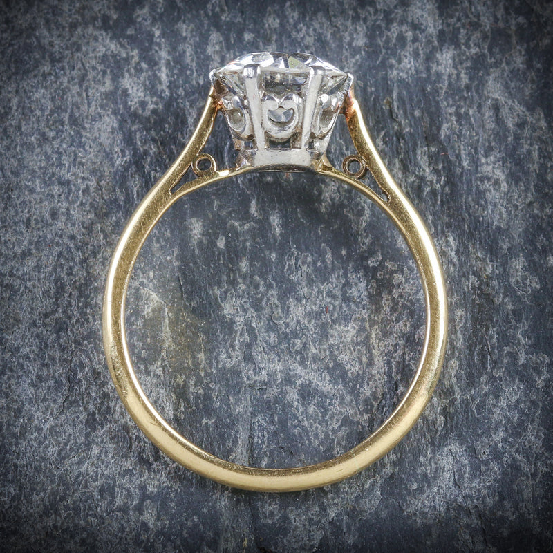 ANTIQUE VICTORIAN DIAMOND SOLITAIRE RING 1.60CT TOP