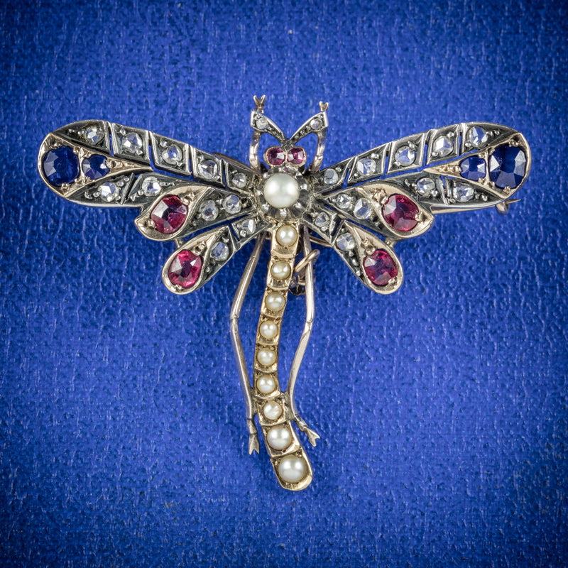 Antique Victorian Dragonfly Brooch Diamond Sapphire Ruby Pearl Circa 1900 cover