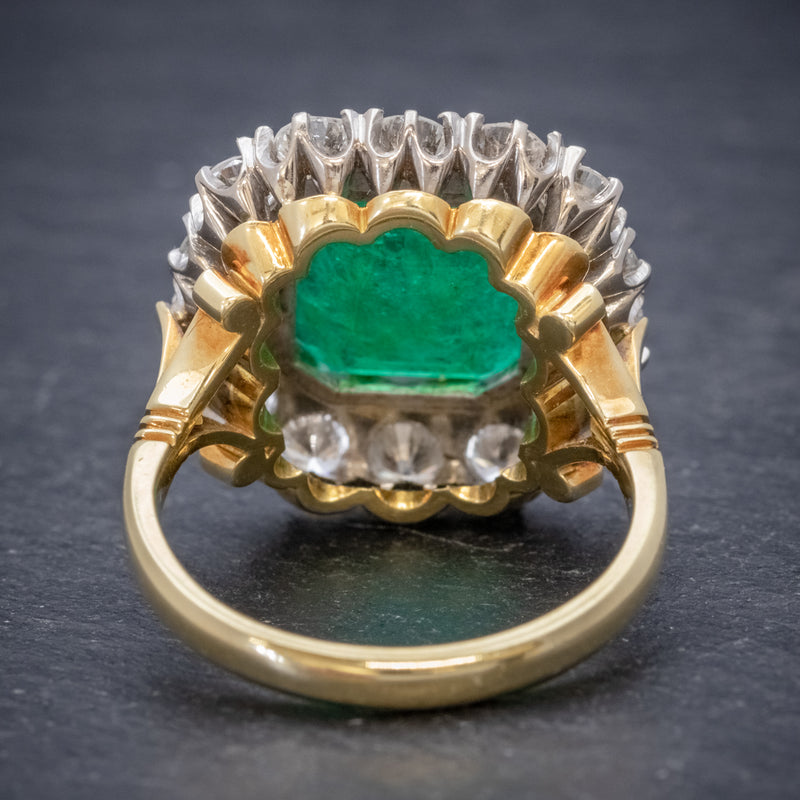 Antique Victorian Emerald Diamond Cluster Ring 18ct Gold 4.50ct Emerald Circa 1900 BACK