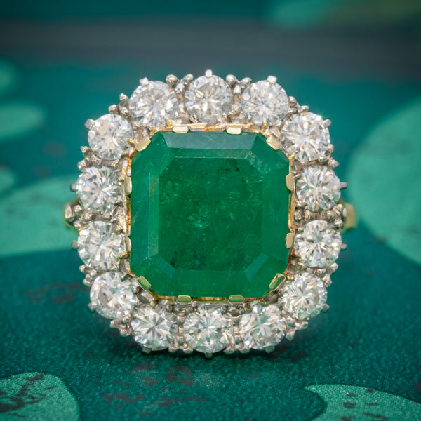 Antique Victorian Emerald Diamond Cluster Ring 18ct Gold 4.50ct Emerald Circa 1900 COVER