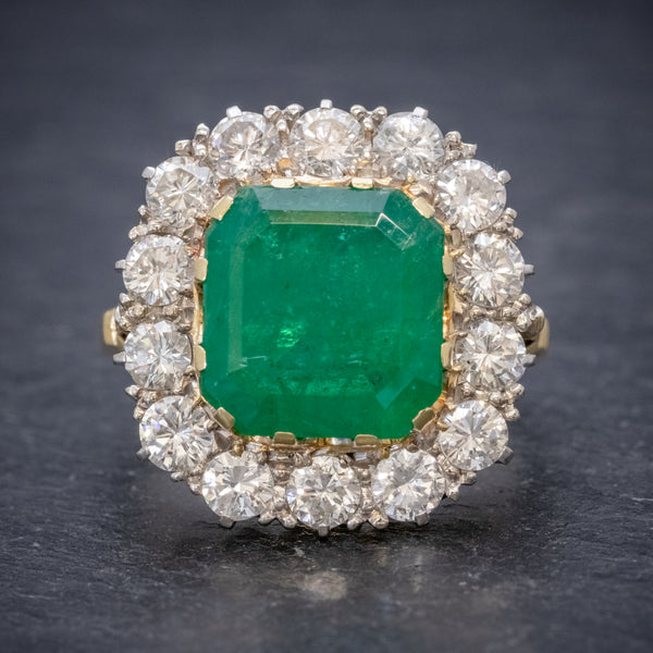 Antique Victorian Emerald Diamond Cluster Ring 18ct Gold 4.50ct Emerald Circa 1900 FRONT