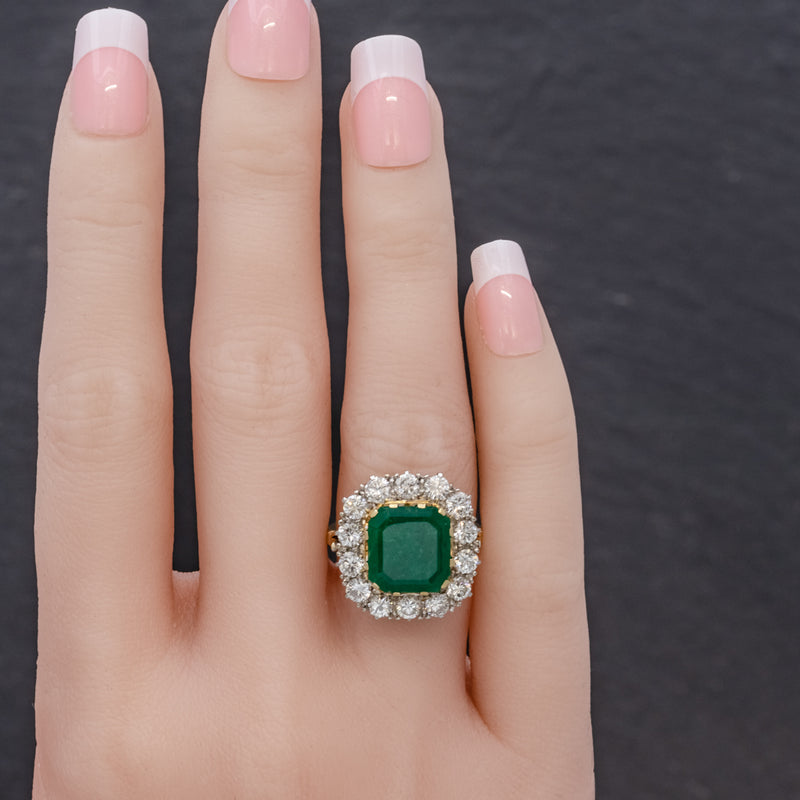 Antique Victorian Emerald Diamond Cluster Ring 18ct Gold 4.50ct Emerald Circa 1900 HAND