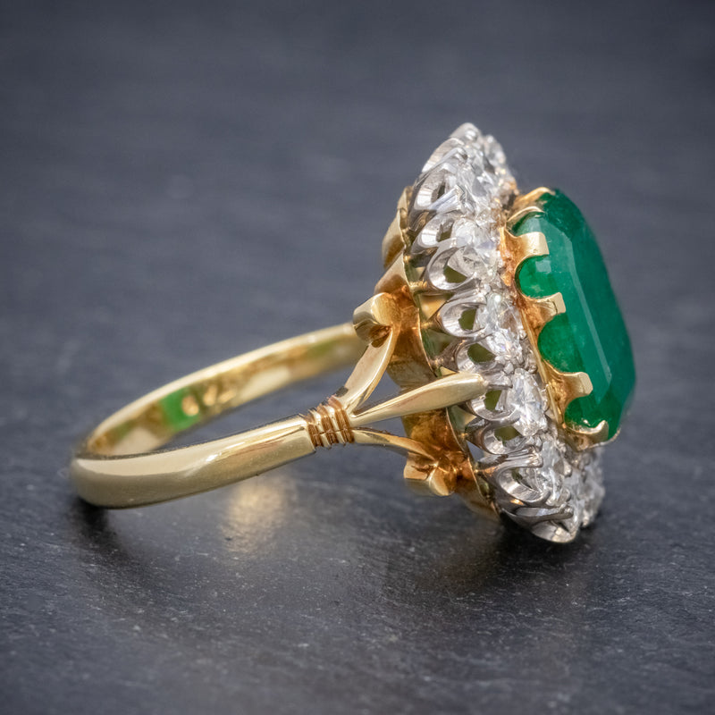 Antique Victorian Emerald Diamond Cluster Ring 18ct Gold 4.50ct Emerald Circa 1900 SIDE2