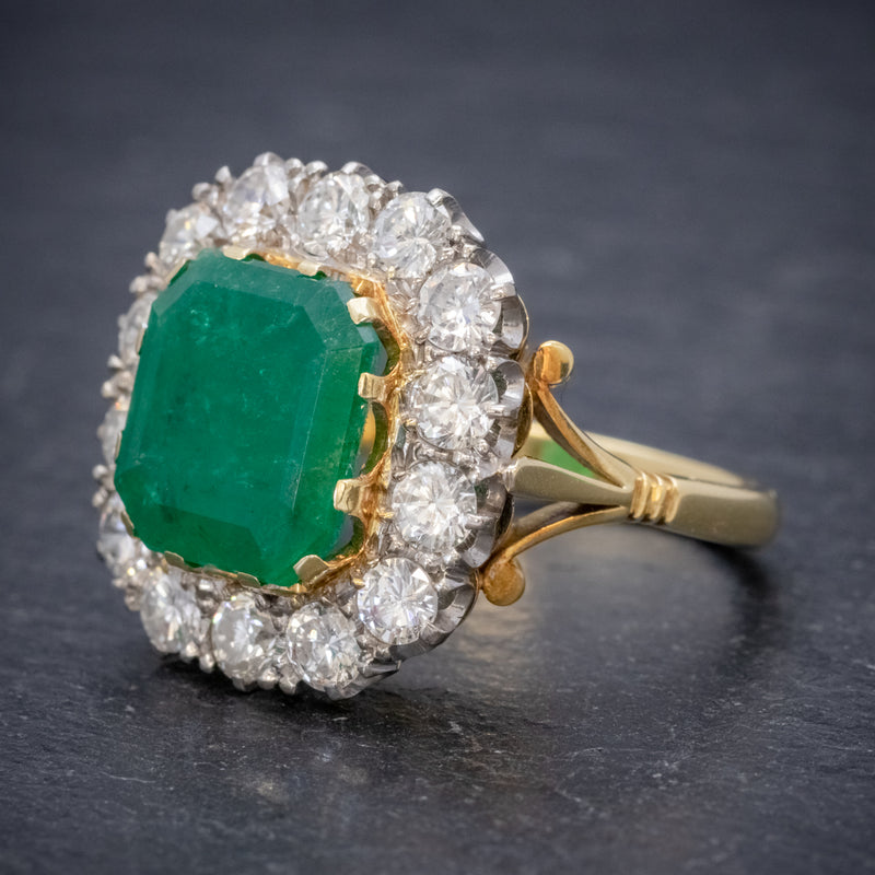 Antique Victorian Emerald Diamond Cluster Ring 18ct Gold 4.50ct Emerald Circa 1900 SIDE