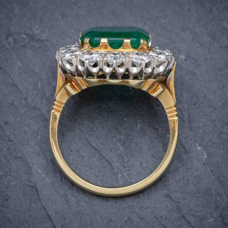 Antique Victorian Emerald Diamond Cluster Ring 18ct Gold 4.50ct Emerald Circa 1900 TOP