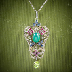 Antique Victorian Emerald Ruby Sapphire Pendant Necklace Circa 1880 COVER