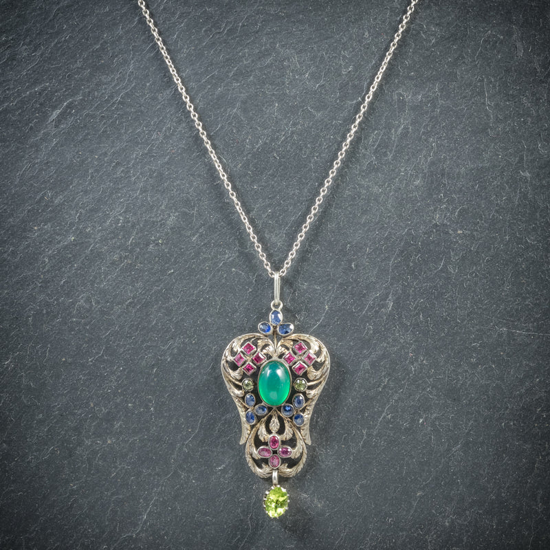 Antique Victorian Emerald Ruby Sapphire Pendant Necklace Circa 1880 FRONT
