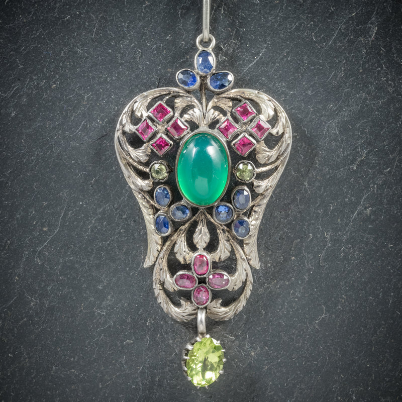 Antique Victorian Emerald Ruby Sapphire Pendant Necklace Circa 1880 PENDANT