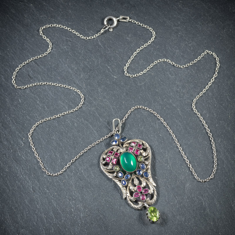 Antique Victorian Emerald Ruby Sapphire Pendant Necklace Circa 1880 TOP
