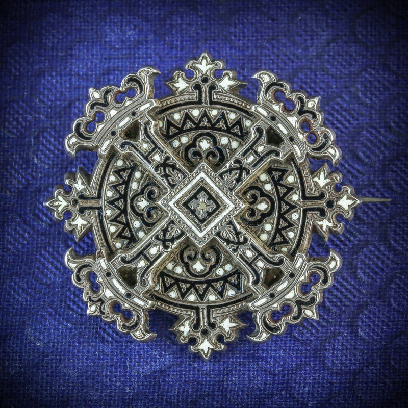 ANTIQUE VICTORIAN ENAMEL CROSS BROOCH SILVER CIRCA 1900 COVER