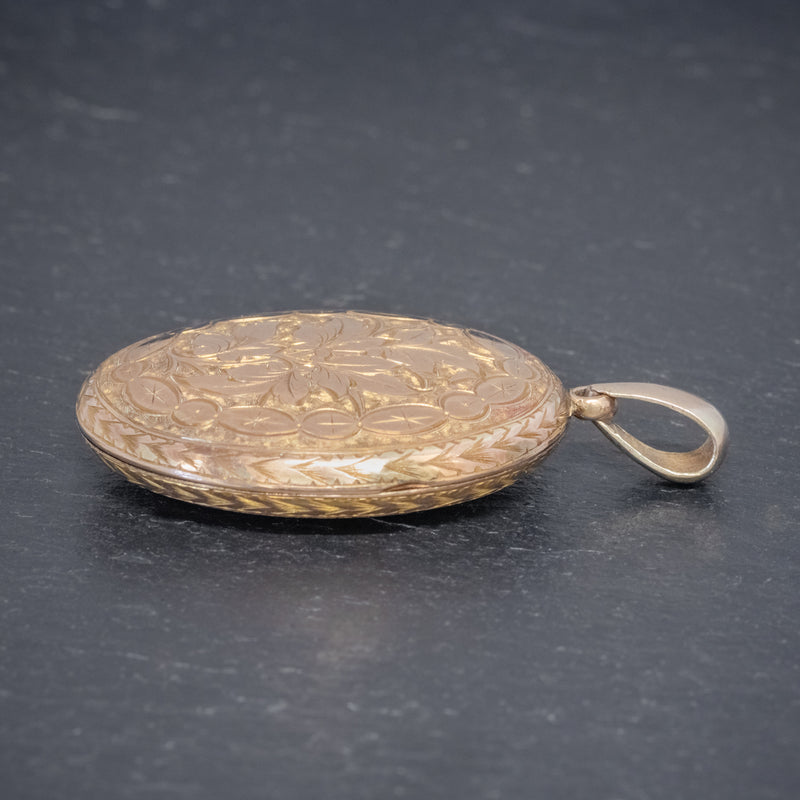 Antique Victorian Engraved Locket 18ct Gold Back And Front Circa 1880 SIDE