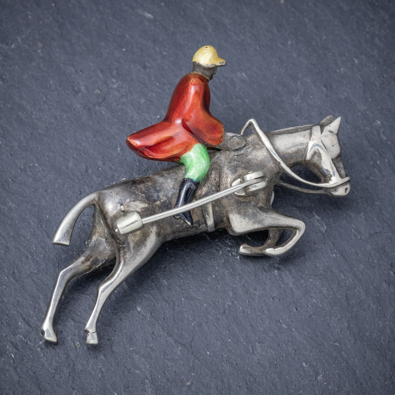 Antique Victorian Equestrian Horse Riding Brooch Silver Paste Circa 1900 BACK
