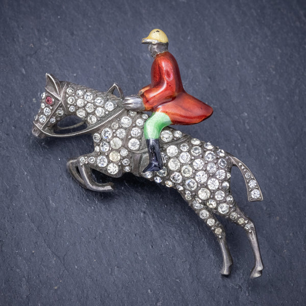 Antique Victorian Equestrian Horse Riding Brooch Silver Paste Circa 1900 FRONT