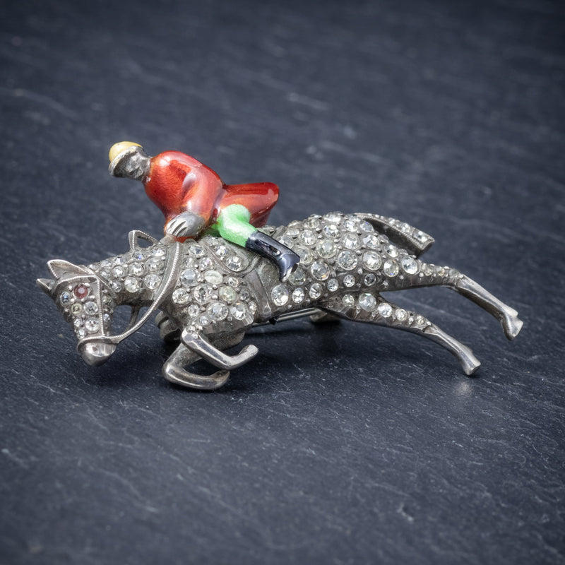 Antique Victorian Equestrian Horse Riding Brooch Silver Paste Circa 1900 SIDE