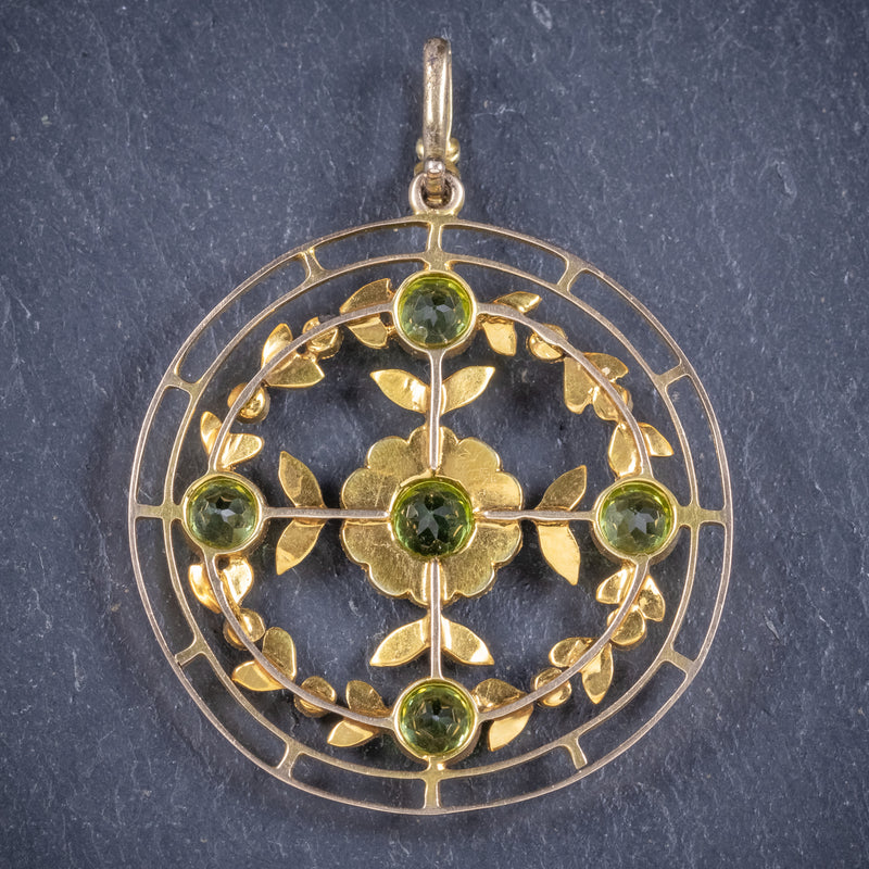 Antique Victorian Floral Peridot Pearl Pendant 18ct Gold Circa 1900 back