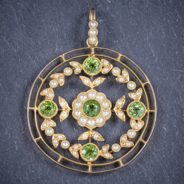 Antique Victorian Floral Peridot Pearl Pendant 18ct Gold Circa 1900 front
