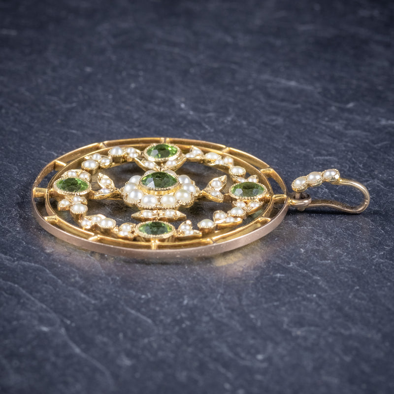 Antique Victorian Floral Peridot Pearl Pendant 18ct Gold Circa 1900 side