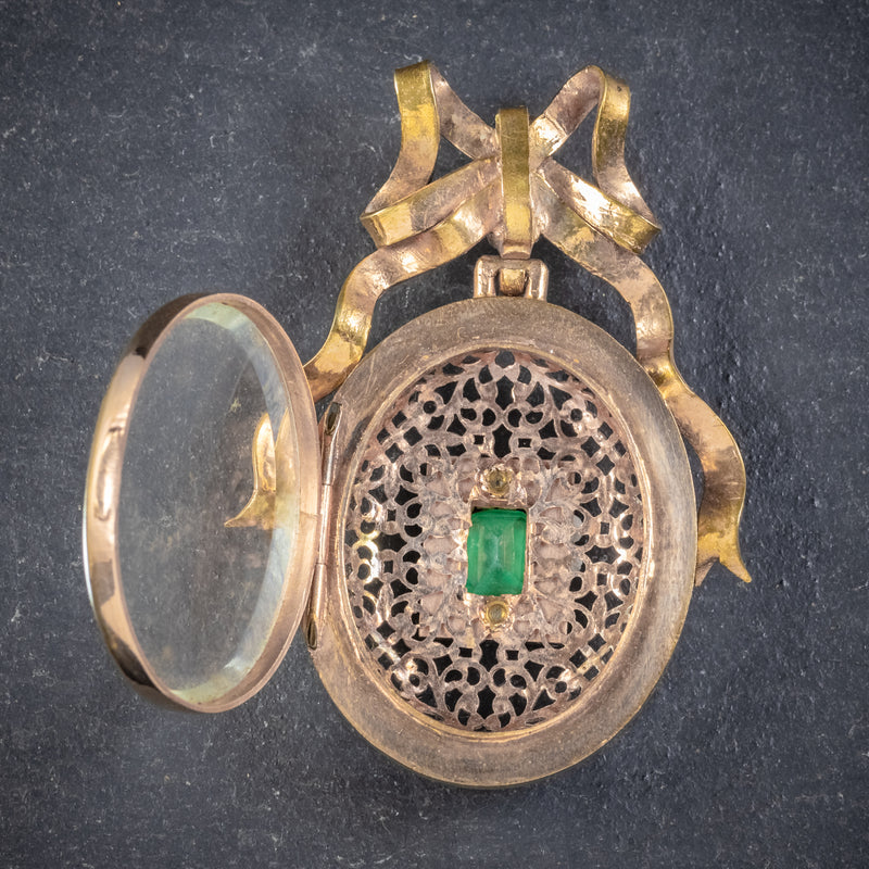 ANTIQUE VICTORIAN FRENCH 18CT GOLD GILT PASTE STONE LOCKET CIRCA 1900 OPEN