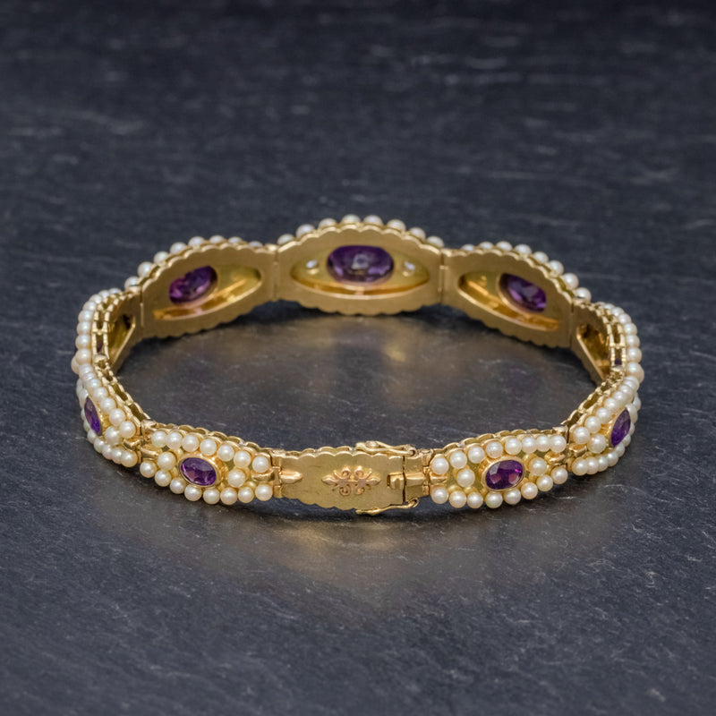 ANTIQUE VICTORIAN FRENCH BRACELET AMETHYST DIAMOND PEARL 18CT GOLD CIRCA 1900 BACK