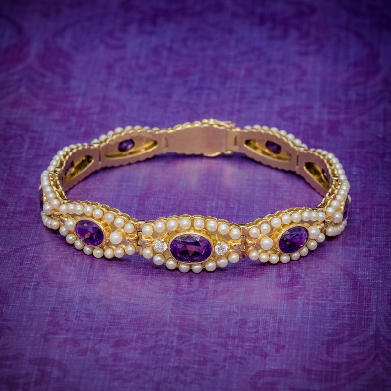 ANTIQUE VICTORIAN FRENCH BRACELET AMETHYST DIAMOND PEARL 18CT GOLD CIRCA 1900 COVER