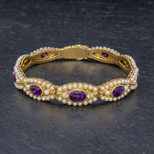 ANTIQUE VICTORIAN FRENCH BRACELET AMETHYST DIAMOND PEARL 18CT GOLD CIRCA 1900 FRONT