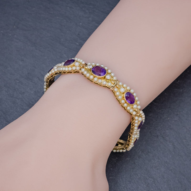 ANTIQUE VICTORIAN FRENCH BRACELET AMETHYST DIAMOND PEARL 18CT GOLD CIRCA 1900 HAND