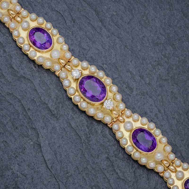 ANTIQUE VICTORIAN FRENCH BRACELET AMETHYST DIAMOND PEARL 18CT GOLD CIRCA 1900 STONES