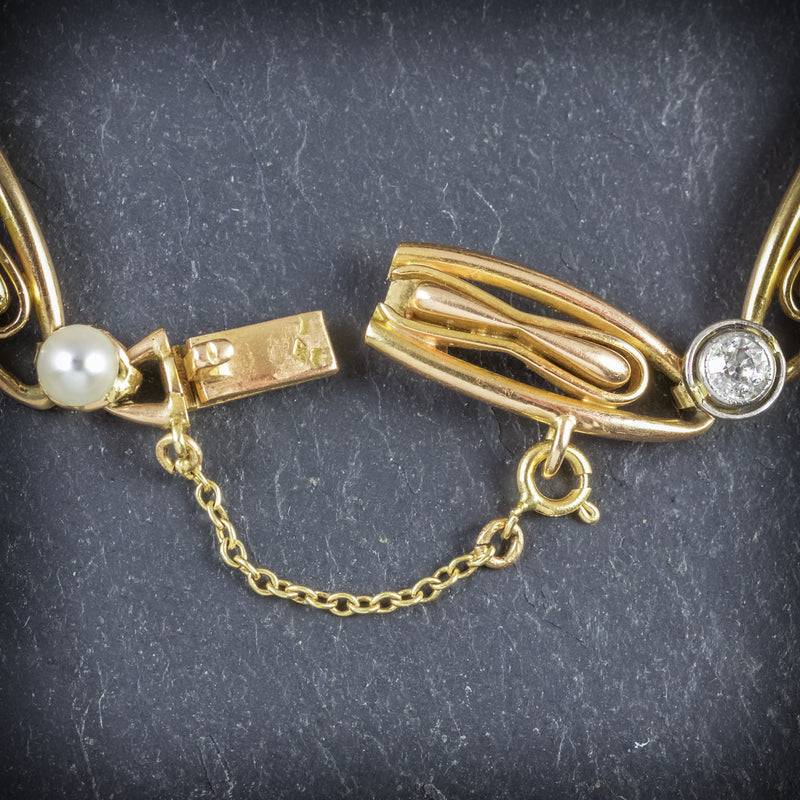 ANTIQUE VICTORIAN FRENCH BRACELET DIAMOND PEARL 18CT GOLD CIRCA 1900 CLASP