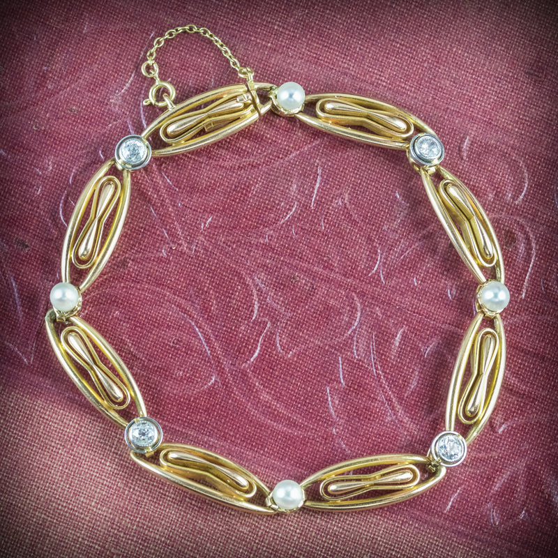 ANTIQUE VICTORIAN FRENCH BRACELET DIAMOND PEARL 18CT GOLD CIRCA 1900 COVER