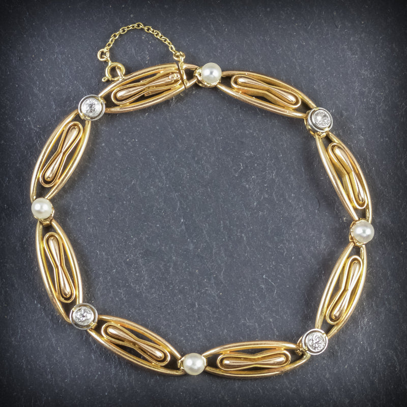 ANTIQUE VICTORIAN FRENCH BRACELET DIAMOND PEARL 18CT GOLD CIRCA 1900 FRONT