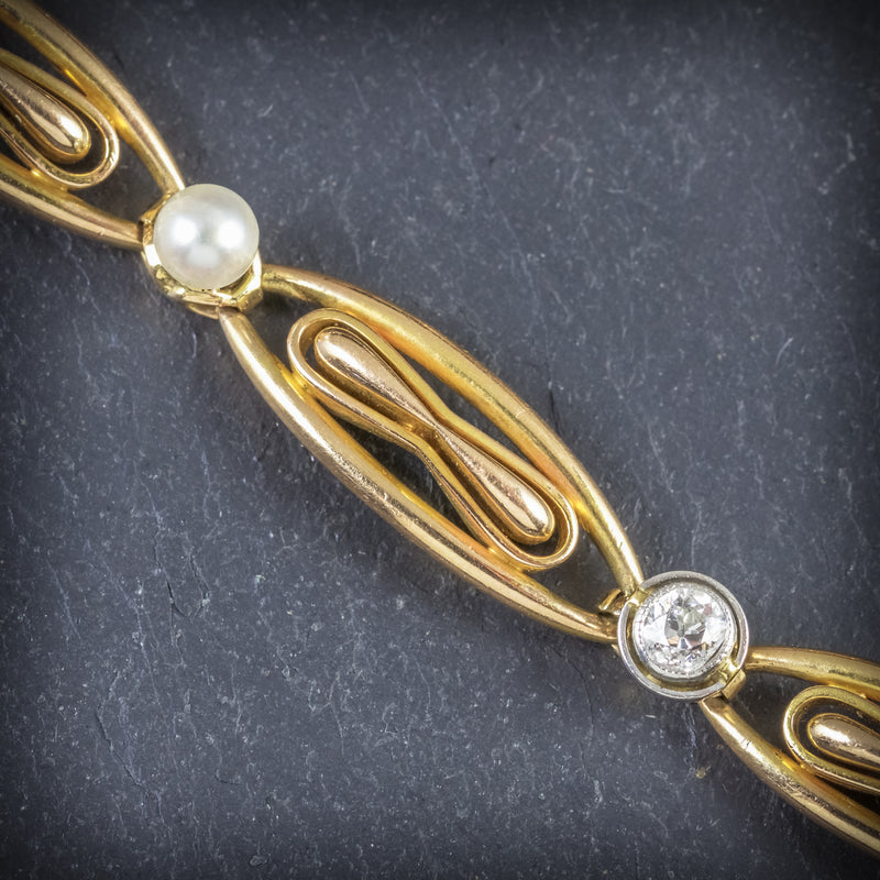 ANTIQUE VICTORIAN FRENCH BRACELET DIAMOND PEARL 18CT GOLD CIRCA 1900 STONES